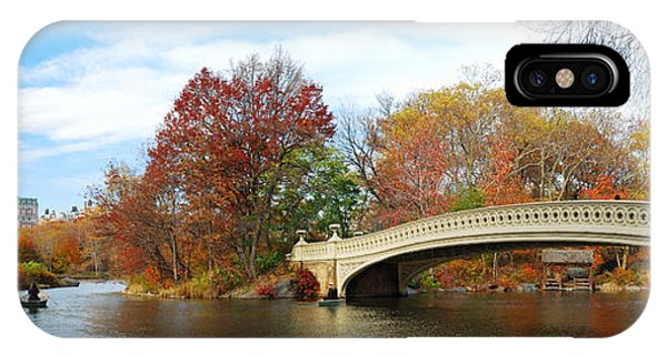 New York City Manhattan Central Park Panorama At Autumn IPhone Case