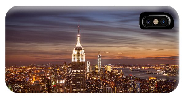 City Sunset iPhone Case - New York City Skyline And Empire State Building At Dusk by Vivienne Gucwa