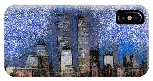 New York City Blue And White Skyline IPhone Case