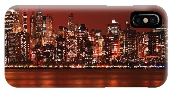 New York City Skyline In Red IPhone Case