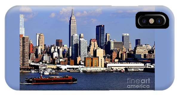New York City Skyline With Empire State And Red Boat IPhone Case