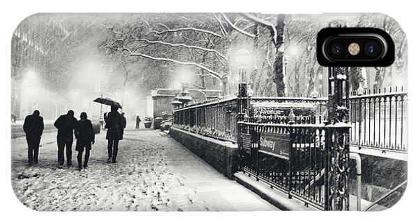 New York City - Winter - Snow At Night IPhone Case