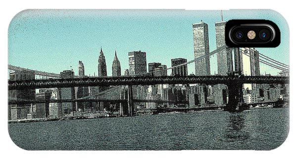 New York Downtown Manhattan Skyline - Blue Panorama IPhone Case