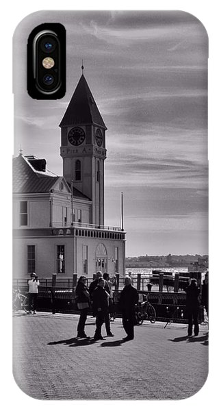 Battery D iPhone Case - New York Harbor In Black And White by Dan Sproul