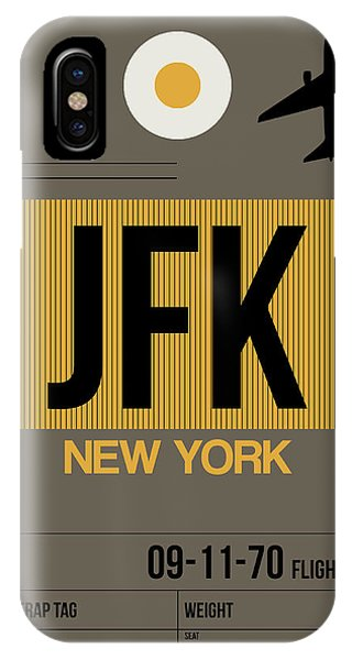 Travel iPhone Case - New York Luggage Tag Poster 3 by Naxart Studio