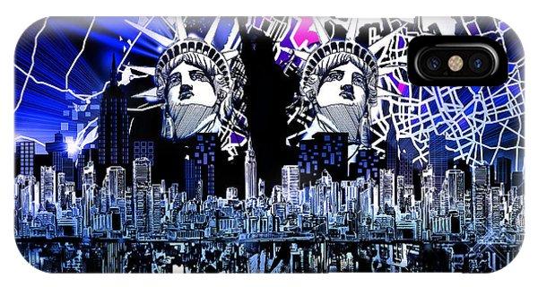 Manhattan Skyline iPhone Case - New York Map Abstract 4 by Bekim M