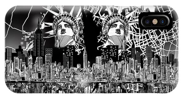 New York Map Black And White 2 IPhone Case