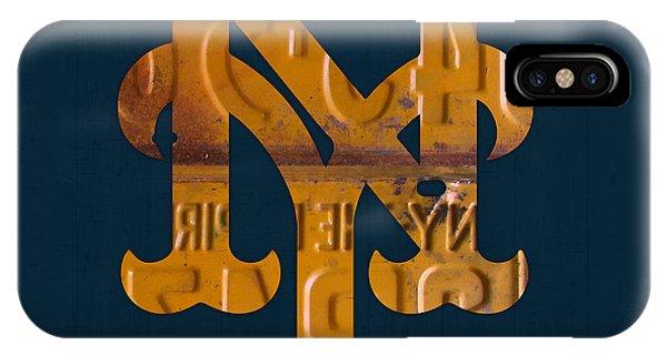 New York Mets iPhone Case - New York Mets Baseball Vintage Logo License Plate Art by Design Turnpike