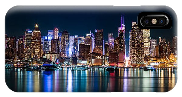 New York Panorama By Night IPhone Case