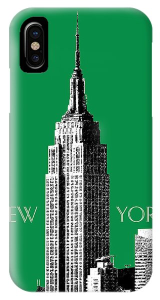 Empire State Building iPhone Case - New York Skyline Empire State Building - Forest Green by DB Artist