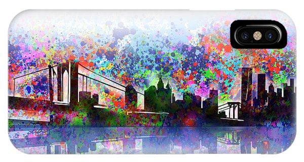 Manhattan Skyline iPhone Case - New York Skyline Splats 2 by Bekim M