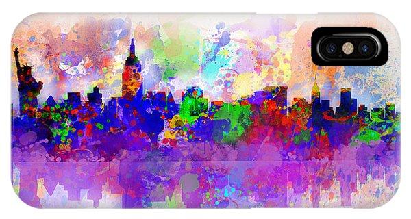Manhattan Skyline iPhone Case - New York Skyline Splats 3 by Bekim M