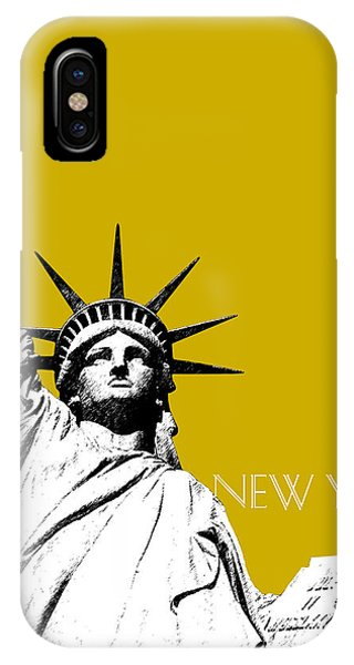 Statue Of Liberty iPhone Case - New York Skyline Statue Of Liberty - Gold by DB Artist