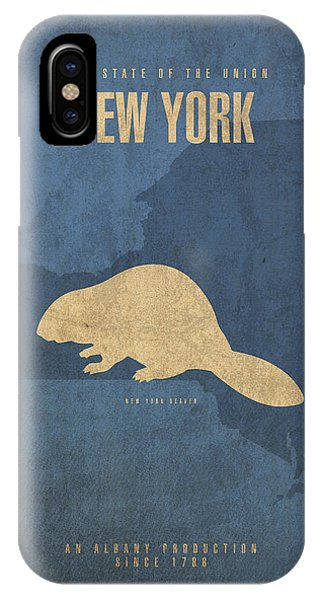 Minimalist iPhone Case - New York State Facts Minimalist Movie Poster Art  by Design Turnpike