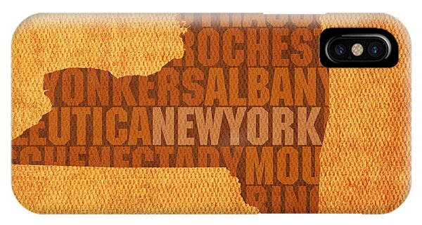 City Scenes iPhone Case - New York Word Art State Map On Canvas by Design Turnpike