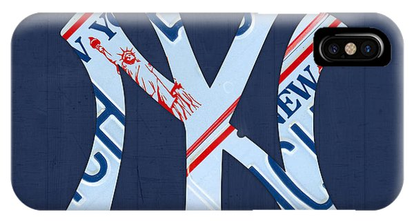 New York Yankees Baseball Team Vintage Logo Recycled Ny License Plate Art IPhone Case