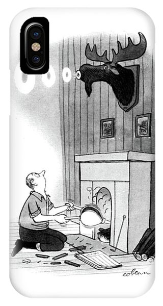 Fireplace iPhone Case - New Yorker December 13th, 1947 by Sam Cobean