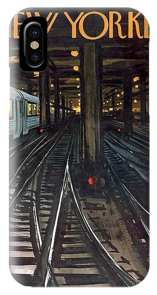 Trains iPhone Case - New Yorker January 12th, 1963 by Arthur Getz