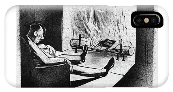 Fireplace iPhone Case - New Yorker November 18th, 1944 by Mischa Richter
