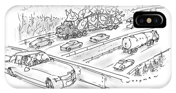 Highway iPhone Case - New Yorker November 23rd, 1998 by Bill Woodman