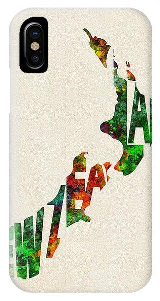 New Zealand Typographic Watercolor Map IPhone Case