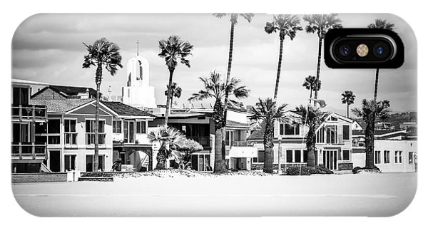Newport Beach Oceanfront Homes Black And White Picture IPhone Case