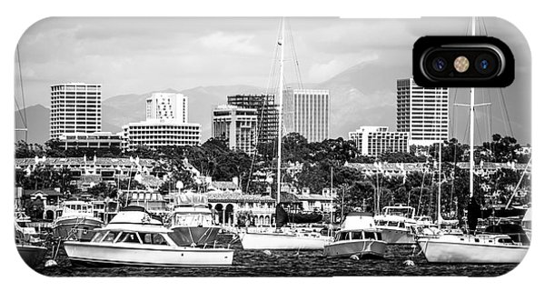 Newport Beach Skyline Black And White Picture IPhone Case