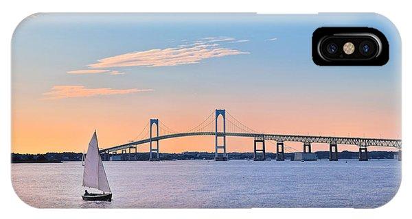 Newport Bridge Twilight Sunset With Sailboat Rhode Island Usa IPhone Case