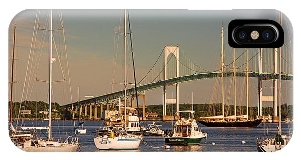 Newport Harbor With Pell Bridge IPhone Case