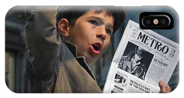Outdoors iPhone Case - Newspaper Boys by Lus Joosten