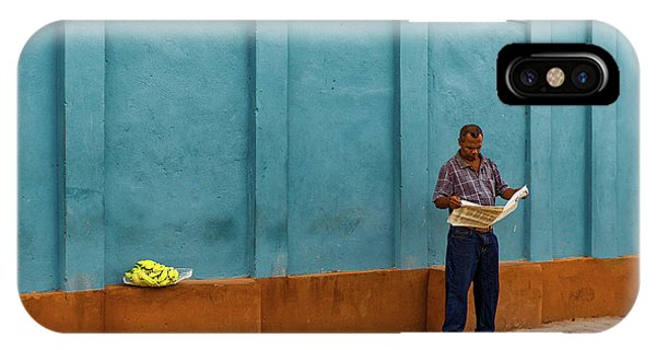 Reading iPhone Case - Newspaper Reading Banana Seller by Inge Schuster