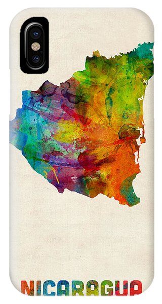 Print iPhone Case - Nicaragua Watercolor Map by Michael Tompsett