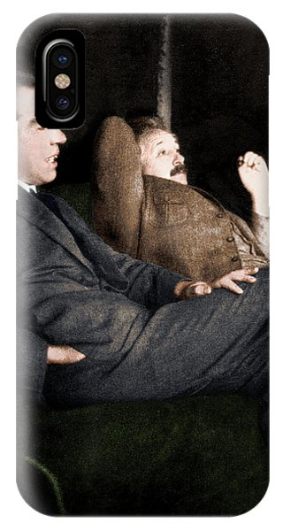 Niels Bohr And Albert Einstein Phone Case by Photograph By Paul Ehrenfest, Copyright Status Unknown. Coloured By Science Photo Library