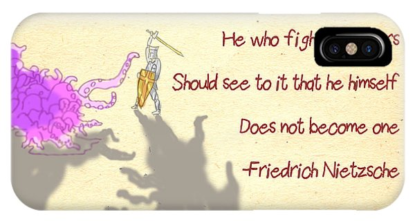 iPhone Case - Nietzsche Quote He Who Fights Monsters by