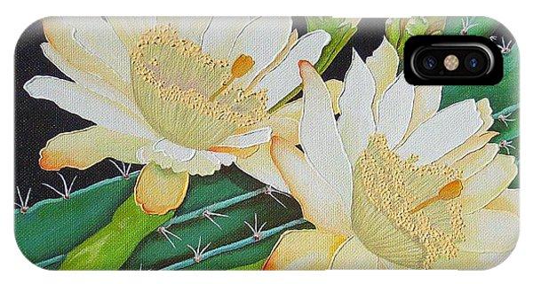 Night Blooming Cacti Phone Case by Carol Sabo