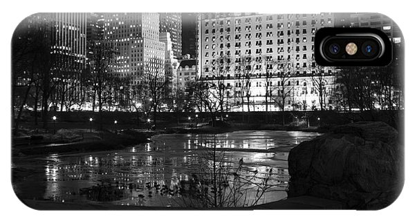 Night Central Park Lake H IPhone Case