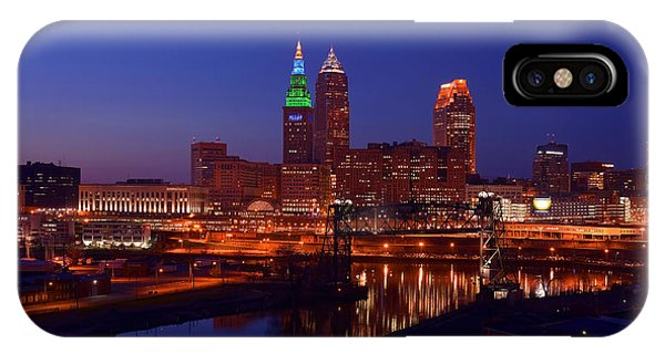 Night Cleveland Skyline From The South IPhone Case