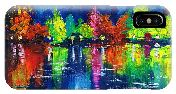 Night Park By The River Lanterns Trees IPhone Case