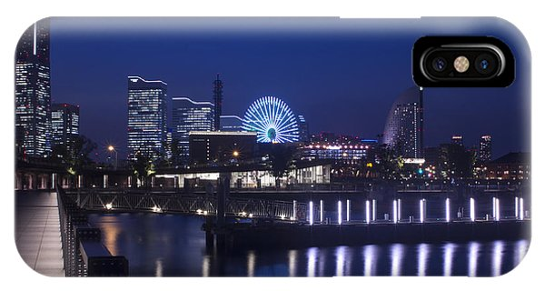 Night Scene In Blue Of Minatomirai In Yokohama IPhone Case