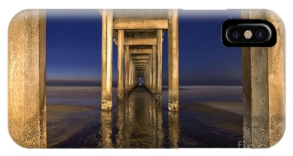 Scripps Pier iPhone Case - Night Scripps by Marco Crupi
