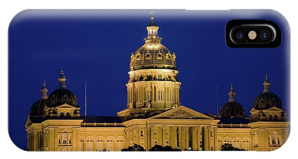 Capitol Building iPhone Case - Night Shot Of Iowa State Capital by Panoramic Images