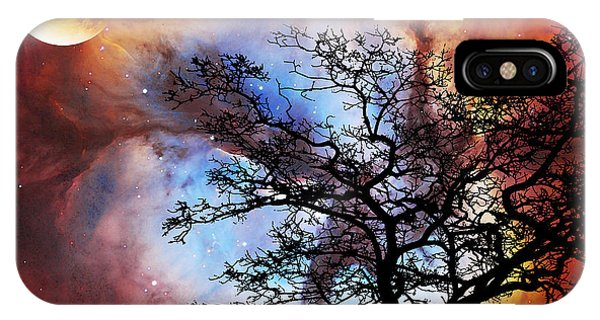 Barren iPhone Case - Night Sky Landscape Art By Sharon Cummings by Sharon Cummings