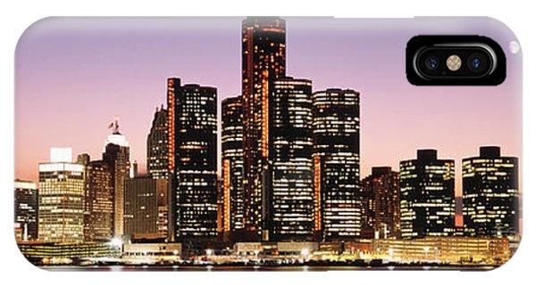 Renaissance Center iPhone Case - Night Skyline Detroit Mi by Panoramic Images