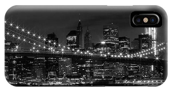 Night-skyline New York City Bw IPhone Case