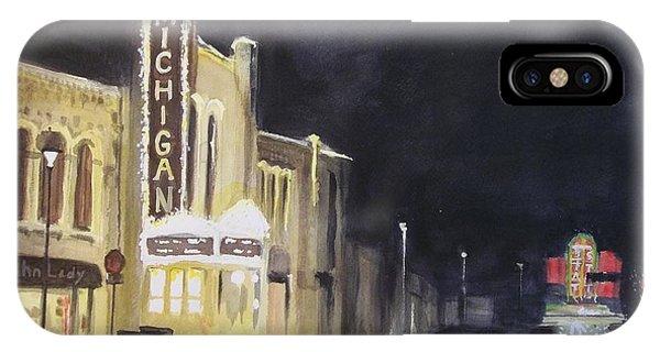 Night Time At Michigan Theater - Ann Arbor Mi IPhone Case