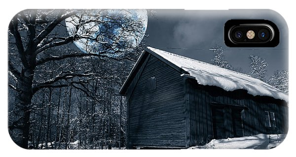 Night Time Landscape During Winter And Snow IPhone Case