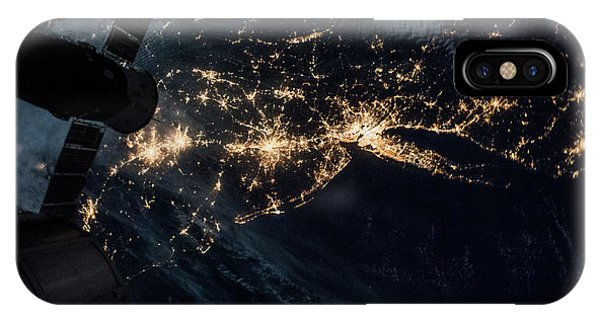 International Space Station iPhone Case - Night Time Satellite Image Of New York by Panoramic Images