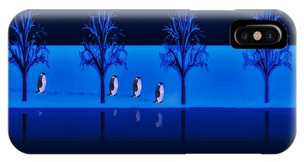 Night Walk Of The Penguins IPhone Case