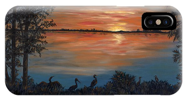 IPhone Case featuring the painting Nightfall At Loxahatchee by Karen Zuk Rosenblatt
