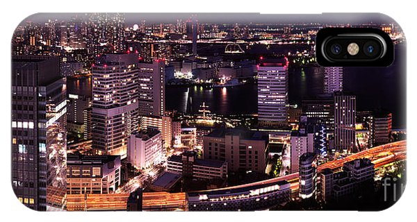 Odaiba iPhone Case - Nighttime Panoramic View Of Tokyo Bay by Oleksiy Maksymenko